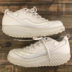 Skechers Women's White Leather Shape Ups Shoes